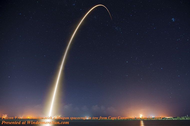 falcon-9 rocket launches with a Dragon spacecraft in tow from Cape Canaveral, on Sep. 21, 2014, PD final