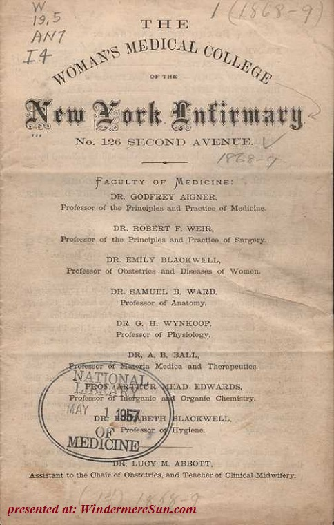 Elizabeth Blackwell MD as a practicing doctor at NYinfirmary final