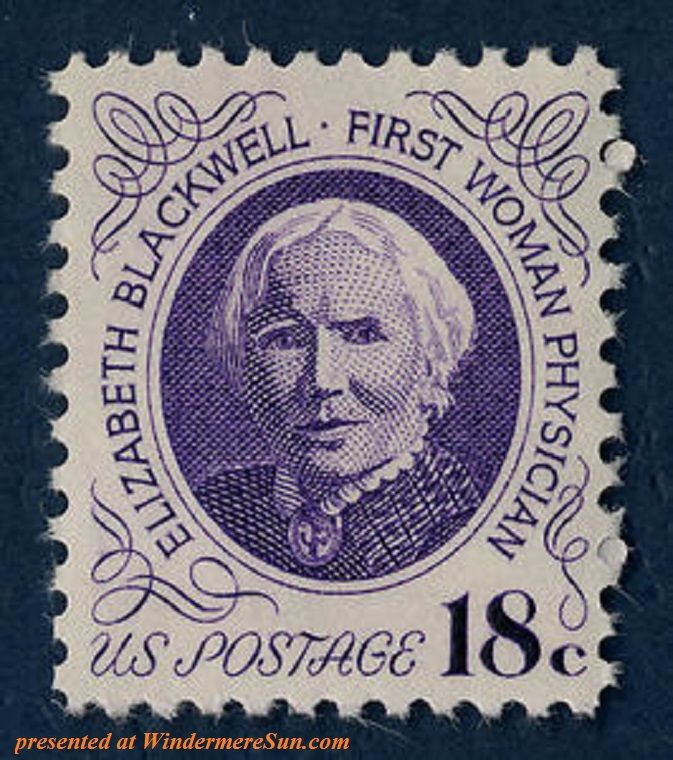 Elizabeth_blackwell_stamp, Blackwell was commemorated on a U.S. postage stamp in 1974, designed by Joseph Stanley Kozlowski. Syracuse University Medical School collection final