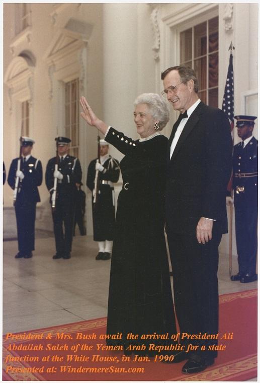 Barbara Bush-President_and_Mrs._Bush_await_the_arrival_of_President_Ali_Abdallah_Saleh_of_the_Yemen_Arab_Republic_for_a_State..._-_NARA_-_186408, Jan. 1990, PD final