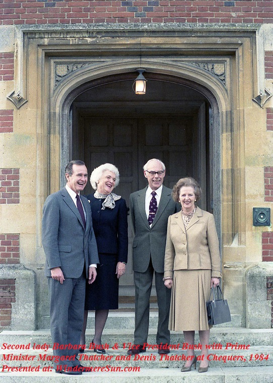 Barbara Bush-Second Lady Barbara Bush and Vice President Bush with Prime Minister Margaret Thatcher and Denis Thatcher at Chequers, 1984, PD final