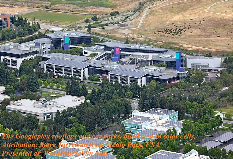 Googleplex rooftops and car parks, blanketed in solar cells, attribution-Steve Jurvetson from Menlo Park, USA final