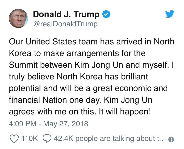 Trump's tweet summit back on final