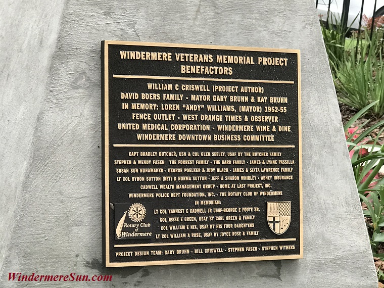 Windermere Veterans Memorial Project closeup final