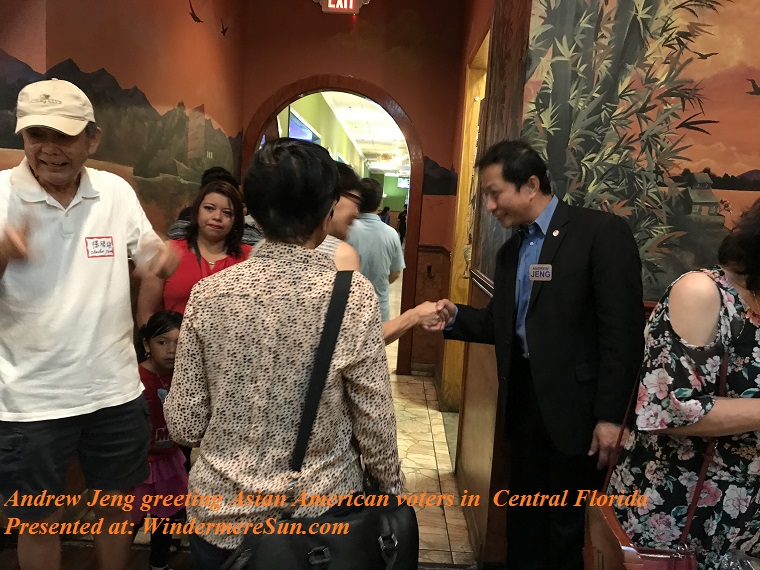 Andrew Jeng greeting Asian American voters in Central Florida at Crazy Buffet restaurant of Orlando final