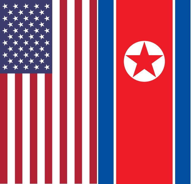 Flags of USA and North Korea final