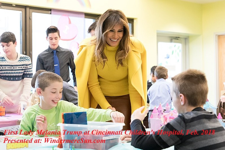 Melania Trump, Be Best campaign, at Cincinnati Children's Hospital on February_6,_2018, attribution-the White House, PD final