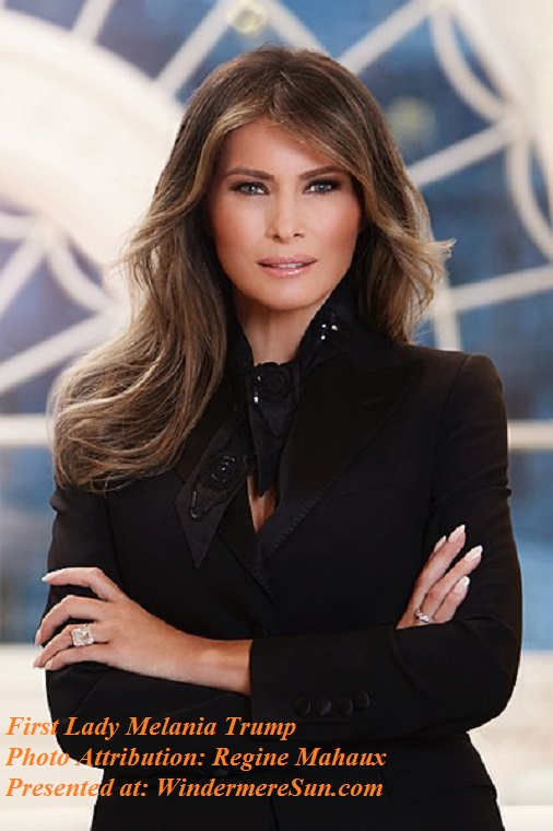 Melania Trump portrait from Whitehouse.gov. Mrs. Trump wears a blazer by Dolce & Gabbana, attribution-Regine Mahaux final