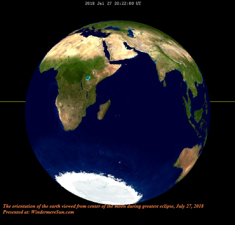 Lunar Eclipse From Moon-The orientation of the earth as viewed from the center of the moon during greatest eclipse-2018Jul27 final