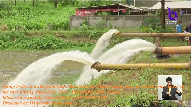 Pumps used to divert water from lakes that drain the Tham Luang cave, to reduce water levels in the cave during June–July 2018 rescue operations, attribution-NBT final
