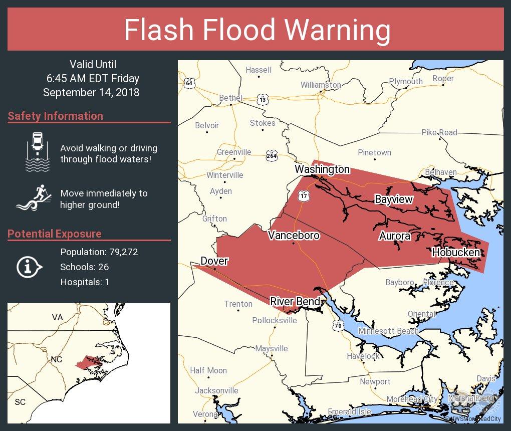 Hurricane Florence-Flash Flood Warning map-1