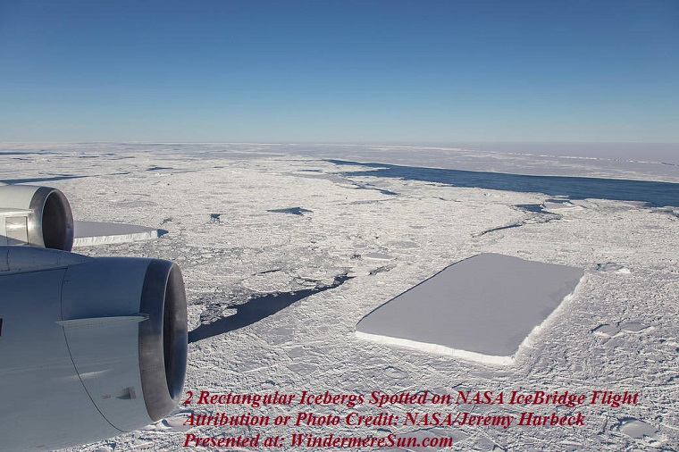 2 rectangular icebergs spotted on NASA IceBridge flight, credit-NASA-Jeremy Harbeck final