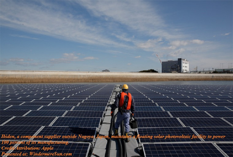 Apple, renewable_energy_apple_solar_panel_japan,Ibiden, a component supplier outside Nagoya, Japan, maintains a floating solar photovoltaic facility to power 100 percent of its manufacturing final