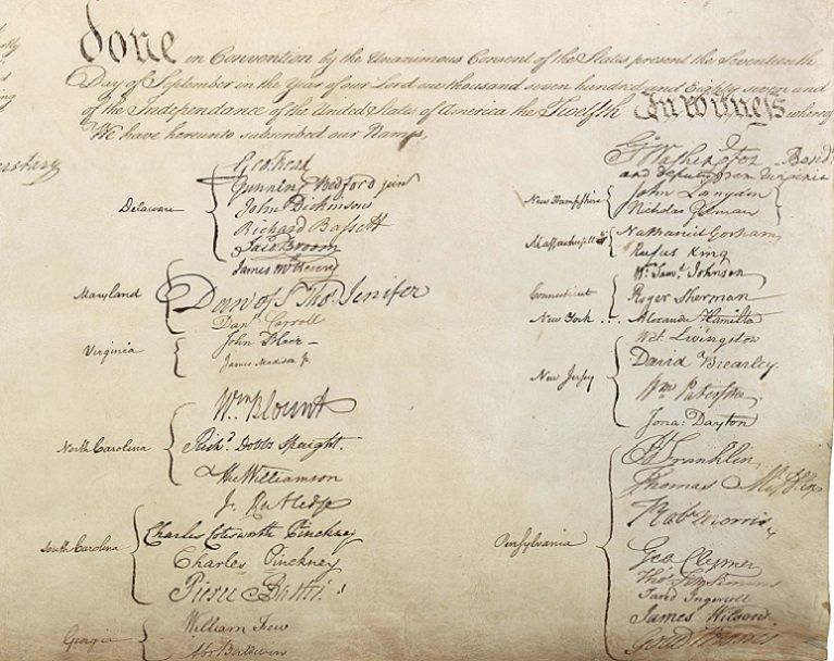 Constitution_signatures, Closing endorsement section of the United States Constitution final