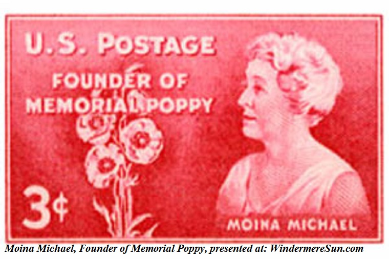 Poppy, MoinaMichael, 1948 U.S. postage stamp honoring Moina Michael. finaljpg
