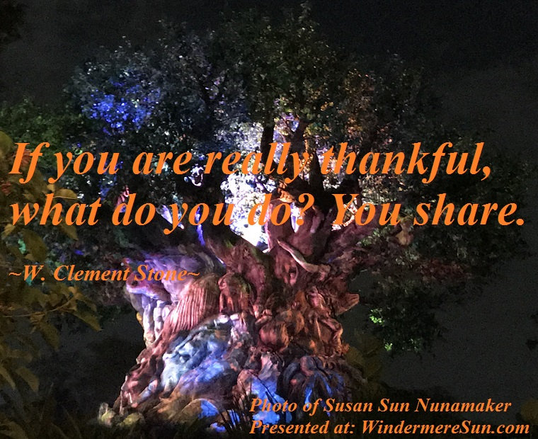 Quote of 11-24-2018, if you are really thankful, what do you do you share, quote of W. Clement Stone final