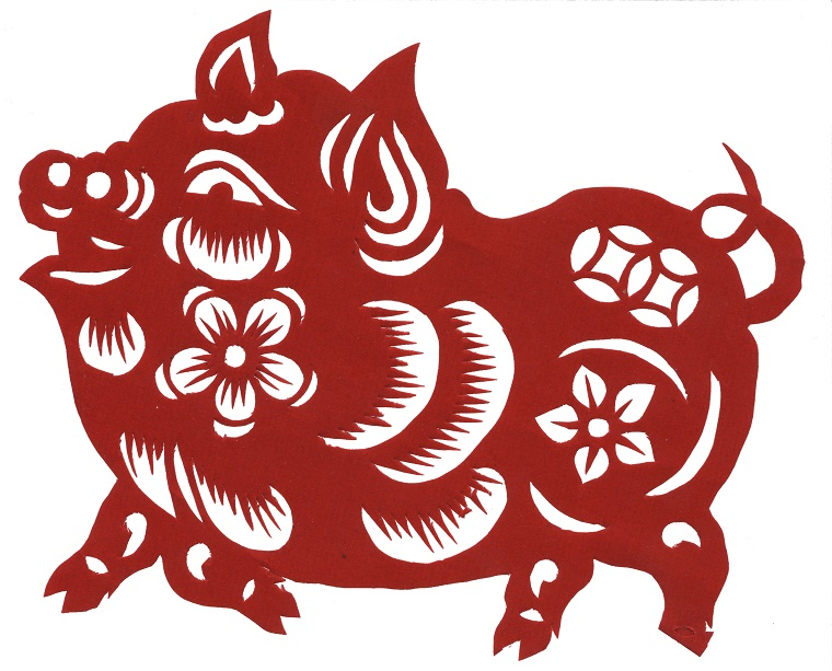 Chinese_paper_cutting-Pig, Made by Fanghong final