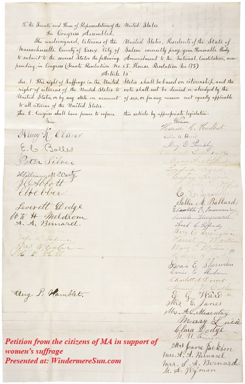 Petition from the citizens of Massachusetts in support of women suffrage final