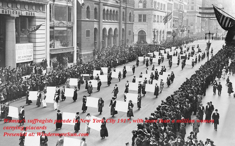 Women's suffragists parade in New York City in 1917, carrying placards with the signatures of more than a million women. final