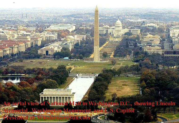 An aerial view of the National Mall in Washington, D.C., showing the Lincoln Memorial at the bottom, the Washington Monument at center, and the U.S. Capitol at the top. final