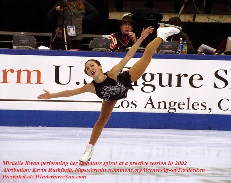 Michelle Kwan performing her signature spiral at a practice session at the 2002 U.S. Figure Skating Championships in Los Angeles, CA, attribution-Kevin Rushforth final