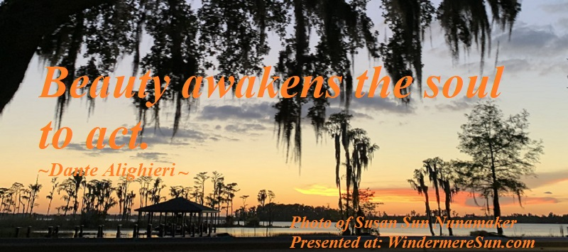 Quote of 5-25-2019, Beauty awakens the soul to act, quote of Dante Alighieri, photo of Susan Sun Nunamaker final