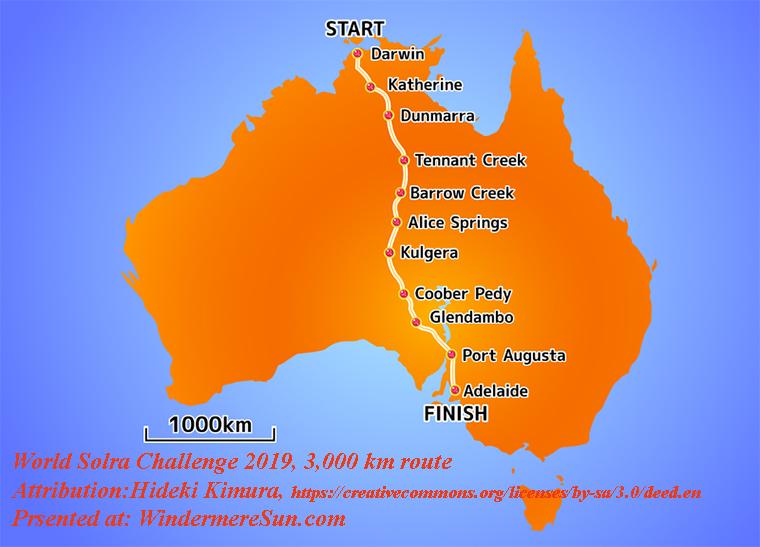 WorldSolarChallenge 2019 3,000 km route, Australia_ggc_route,Attribution-Hideki Kimura, License-CC.3.0 final