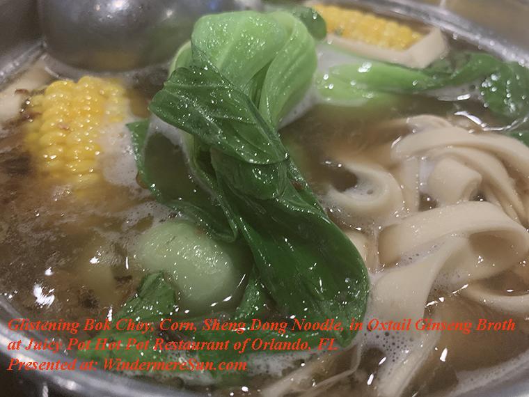 glistening bok choy, corn, sheng dong noodle final