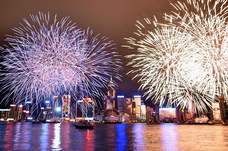 Chinese New Year Firework at Victoria Harbor, Hong Kong, Attribution-Michael Alleray, CC2.0