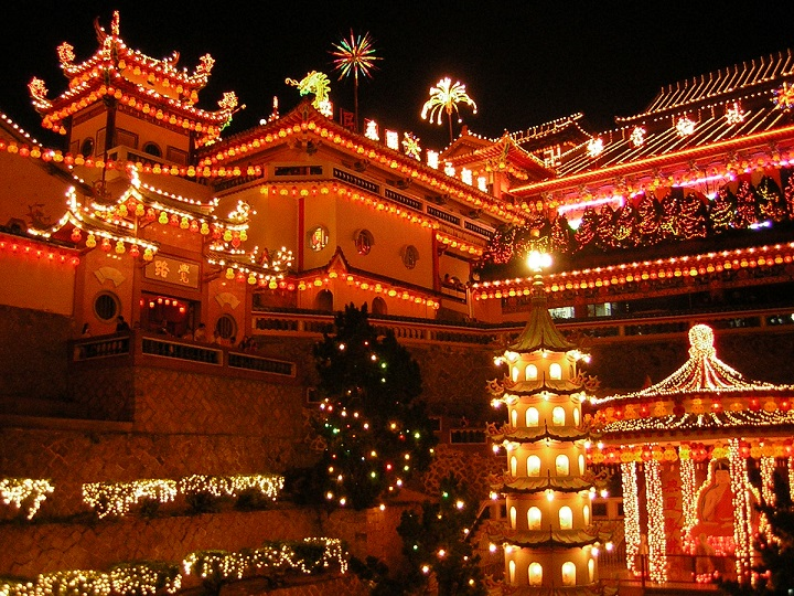 Chinese New Year-The Ke Lok Si Temple in Penang, Malaysia, brightly illuminated in the nights following Chinese New Year by Flying Pharmacist final