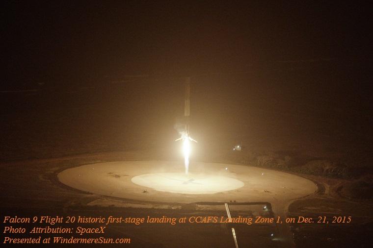 Falcon 9 Flight 20 historic first-stage landing at CCAFS Landing Zone 1, on 21 December 2015. finaljpg