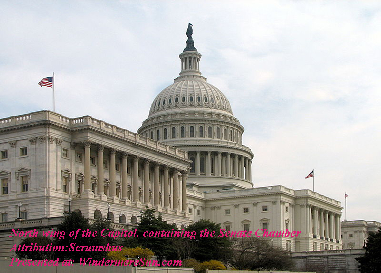 North wing of the Capitol, containing the Senate Chamber, Attribution-Scrumshus, PD final