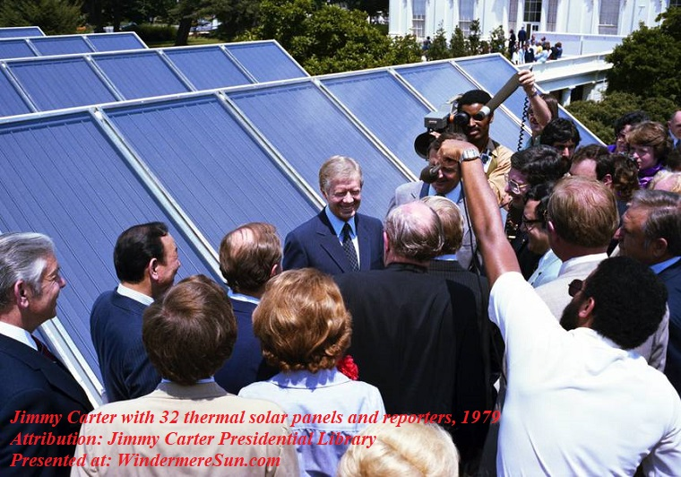 Jimmy Carter with solar panels and reporters, colored, 1979, PD, Jimmy Carter Presidential Library final