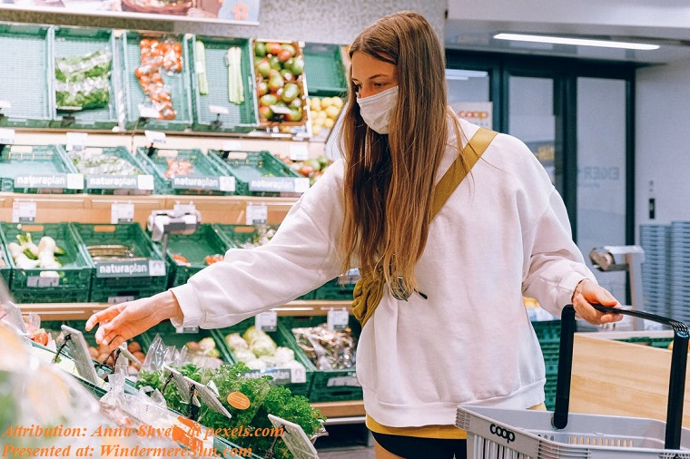 female shopper with mask reaching grocery, pexels-photo-3962283 final