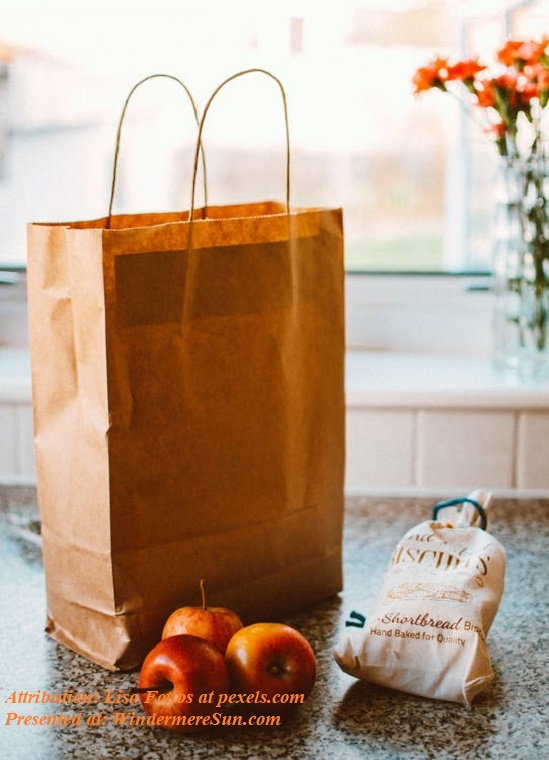 grocery bag and three apples and a bag sitting on coutner, pexels-photo-1992912 final