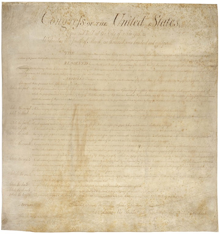 Bill_of_Rights_Pg1of1_AC, United States Bill of Rights Currently housed in the National Archives, PD, final