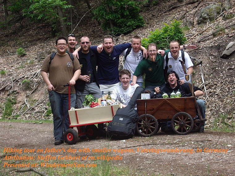 Hiking tour on father's day with smaller wagons, Vaatertagswanderung, in Germany, Attribution-Steffen Gebhart at en.wikipedia, PD final