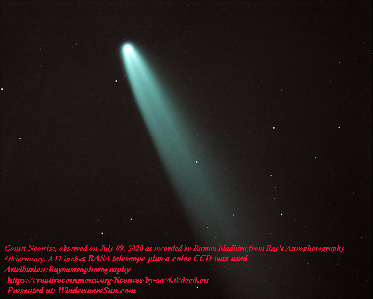 Comet Neowise, July 09, 2020, by Raman Madhira from Ray's Astrophotography Observatory, 11 RASA telescope plus a color CCD, attribution-Raysastrophotography, CC.4.0 final