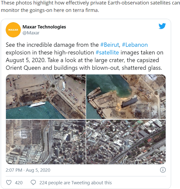 Beirut explosion devastation spotted from space, by private Earth-observation satellites of Maxar Technologies final