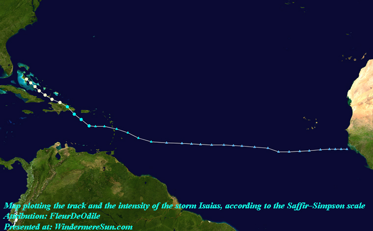 Isaias 2020 track, Map plotting the track and the intensity of the storm, according to the Saffir–Simpson scale, attribution-FleurDeOdile, PD final
