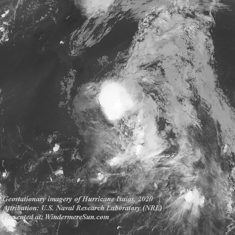 Isaias, Geostationary imagery of Hurricane Isaias, attribution-U.S.Naval Research Labortory, NRL, PD final